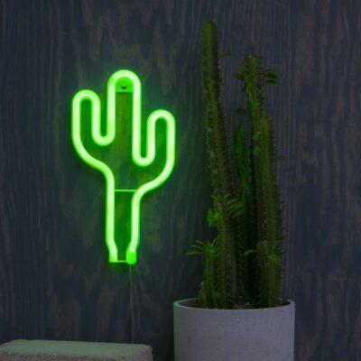 Wisząca dekoracja LED CACTUS NEONLIGHT, zasilana bateriami 3AA